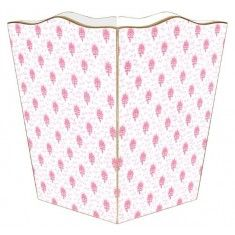 Pink Provencial Print Decoupage Wastebasket and Optional Tissue Box