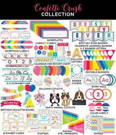 Confetti crush collection by schoolgirl style www. Classroom Setup, Classroom Design, Kindergarten Classroom, Future Classroom, Classroom Organization, Classroom Decor Primary, Classroom Management, Classroom Libraries, Classroom Teacher