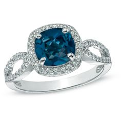 7.0mm Cushion-Cut London Blue Topaz and Lab-Created White Sapphire... (128,525 KRW) ❤ liked on Polyvore