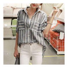 MAGZERO Vertical Striped Button Blouse Shirt WTSP000CRCF