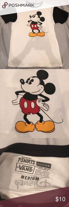Vans Men's Medium Disney Mickey t-shirt,used Vans Men's Medium Disney Mickey t-shirt,black and white,short sleeve. Used, Faded in color. Pictures provided of condition. All bundles of 2 or more receive 15% off. Closet full of new, used and vintage Vans, Skate and surf companies, jewelry, phone cases, shoes and more. Vans Shirts Tees - Short Sleeve