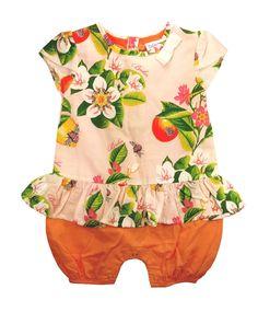 5c058d766d2 Ted Baker Baby Girls Romper Bodysuit Pink Orange Floral Onesie 3-6 Months