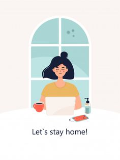 stay home illustration Woman is working - stayhome Flat Design Illustration, Illustration Art Drawing, People Illustration, Character Illustration, Graphic Illustration, Cartoon Art, Cute Art, Character Design, Wallpaper