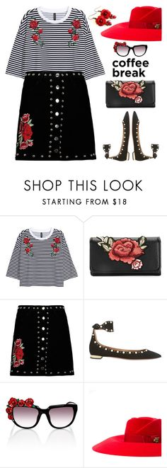 """""""Red Rose Coffee Break"""" by shoaleh-nia ❤ liked on Polyvore featuring Boohoo, Aquazzura, Anna-Karin Karlsson and Gucci"""