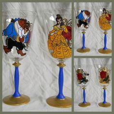 Beauty & The Beast wine glasses