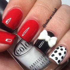 Love these! | red, white & black acrylic nails with bows