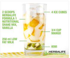Making healthy mango shake with Herbalife formula 1