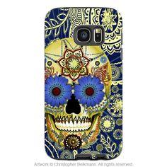 Blue Sugar Skull Galaxy S7 Case - Sugar Skull Blues - Paisley Sugar Skull S7 Tough Case