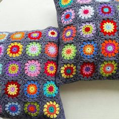 Set of 2 crochet  colorful granny square cushion by handmadebyria
