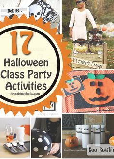 Halloween Activities for Class Parties - a fun variety of games and activities to take into the classroom. Room Moms this is what you've been looking for! Halloween Party Activities, Classroom Halloween Party, Halloween Games, Holiday Activities, Holidays Halloween, Halloween Crafts, Kindergarten Halloween Party, Classroom Fun, Kindergarten Classroom