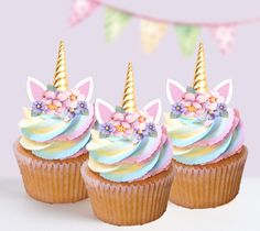 $10.95 AUD - 15 Unicorn Gold Horn Pink Flowers Edible Cupcake Cake Toppers Decorations 109 #ebay #Home & Garden
