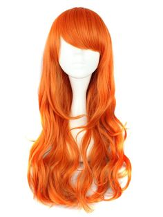 Long Curly Synthetic Costume Wig - Orange$45.99