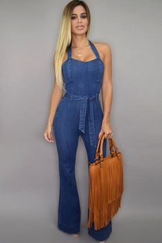 Sleeveless Halter Wide Leg Denim Jumpsuit