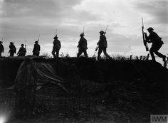 WWI, 22 August 1917; Scots Guards moving up to the trenches near Boezinge. Battle of Passchendaele. ©IWM Q 2755