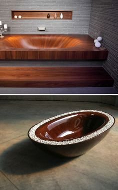 Wooden Bath Tubs. So beautiful!