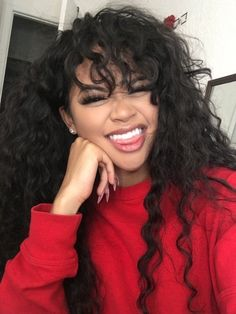 Beautiful long curly hairstyles with bangs human hair wigs for black women african american lace front wigs (African American Hair Tips) Curly Hair With Bangs, Long Curly Hair, Hairstyles With Bangs, Curly Hair Styles, Natural Hair Styles, Black Hairstyles, Curly Haircuts, Curly Hair Fringe, Trendy Hairstyles