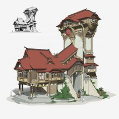Pin by saffron aurora on game design in 2019 environment con Fantasy City, Fantasy Castle, Fantasy House, Fantasy World, Fantasy Art Landscapes, Fantasy Landscape, Chinese Architecture, Concept Architecture, Building Concept