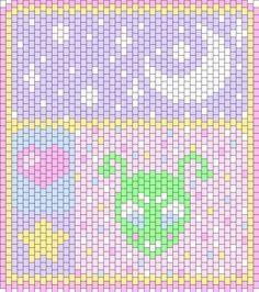 Kawaii_Space_Wall_Hanging by KittenKreme on Kandi Patterns Kandi Patterns, Sewing Patterns, Beaded Bags, Beaded Bracelets, Kandi Cuff, Expo 2020, Magical Jewelry, Beaded Crafts, Peyote Beading