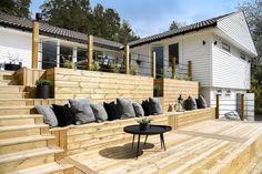 Deck Stair Railing, Patio Seating, Terrace Garden, Outdoor Areas, Garden Design, Pergola, Home And Garden, Cottage, Backyard