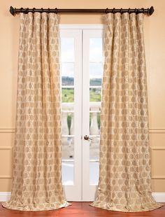 Copenhagen Natural Faux Silk Jacquard Curtains & Drapes
