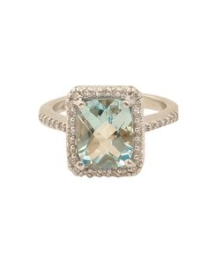 London Jewelers Collection 14k White Gold Sky Blue Topaz and Diamond Ring!