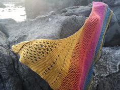 Free Knitting Pattern for Scoglio an Eyelet Lace Shawl