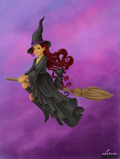 Beautiful Halloween Witch riding on her broomstick with her black cat Witch Pictures, Halloween Pictures, Halloween Art, Vintage Halloween, Happy Halloween, Fantasy Witch, Witch Art, Fantasy Kunst, Fantasy Art