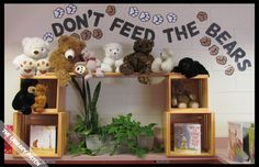 Don't Feed the Bears ... Love it!! Swing over to the Library Patch's blog to view other pictures of her Camp Read Smore themed decor.