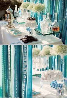 LOVE THESE COLORS The ribbon back drop is pretty cool for behind the dessert table!. More