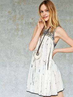 Free People Aztec Bib Dress. Folk Fest outfit. Or, toss a blazer over top and wear it to the office. ~K