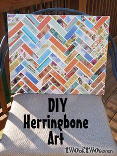DIY Herringbone art using paper