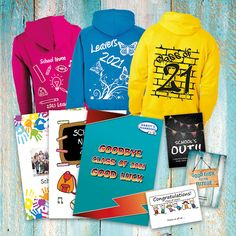 24 page softback stapled Yearbook + Kids Hoodie. (Adults Hoodie sizes cost more because of the VAT) 50 of each = £21.50 30 of each = £23.00 Inclusive of delivery and all the fiddly bits For more info visit our website www.hardysyearbooks.co.uk