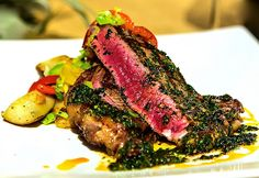 Artango Restaurant review: Argentine Styled NY Strip Steak with Chimichuri Sauce and Roasted Potato