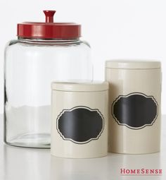 Kitchen canisters with chalk labels keep cupboards organized and can be updated as needed. Diy Organisation, Small Space Organization, Small Storage, Storage Ideas, Chalk Labels, Chalkboard Labels, Kitchen Canisters, Kitchen Dishes, Diy Kitchen