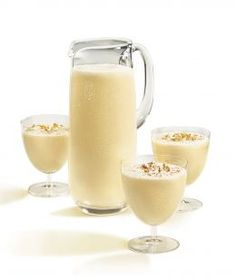 EGGNOG:  i am totally making this this year...never realized how easy to make yourself and not store buy!  Ingredients:    2 eggs, beaten well  3 tbs sugar  1 tsp vanilla  1/8 tsp nutmeg, ground  2 1/3 cups milk  Preparation:    Blend all the ingredients together and serve chilled.