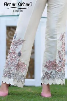 Ivory And Pink Pearl & Accessories Embroidered Trousers – Henna Mehndi