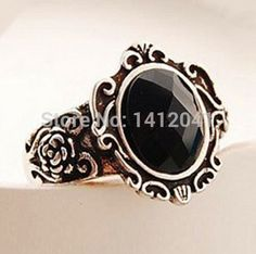 FD1484 Durable Gothic Retro Personality Carved Black Stones Queen Mirror Black Ring x1