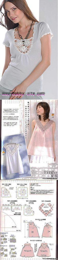 Комбинирование ткани и вязаного кружева.