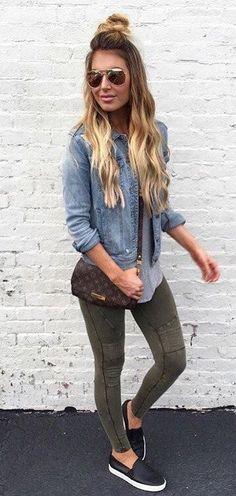 summer outfits  Denim Shirt + Khaki Skinny Jeans + Black Pumps