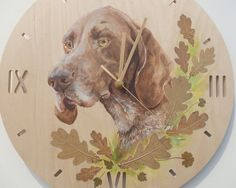 Painted clock Dog portrait Hand painted oil by CanisArtStudio