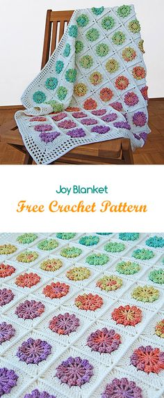 Joy Blanket Free Crochet Pattern #blanket #homedecor #handmade #homemade #crafts #yarn #crochet #crocheting
