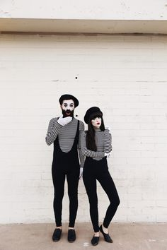 New Darlings - Halloween Couples Costumes - DIY MimesYou can find Halloween couples and more on our website.New Darlings - Halloween Couples Costumes - DIY Mimes Circus Halloween Costumes, Mime Costume, Purim Costumes, Costume Carnaval, Circus Costume, Last Minute Halloween Costumes, Carnival Costumes, Halloween Kostüm, Halloween Couples