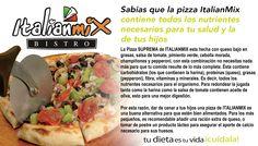Uno de los alimentos mas completos y balanceados es la Pizza de ItalianMix ya que es elaborada con ingredientes de alta calidad como el aceite de oliva verduras frescas y harina alta en proteina