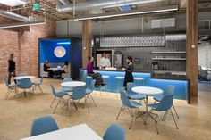 Blue branding color used in a space