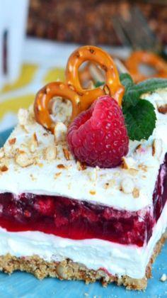 Raspberry Pretzel Salad...