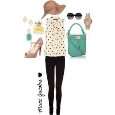 I would love to own this outfit! Well. Ihave a polka dot shirt and a Marc Jacobs bag. But its not seafoam green.