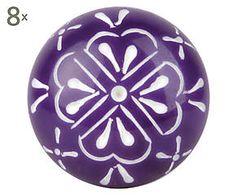 Set di 8 pomelli in resina Nora, viola/bianco - D 4 cm