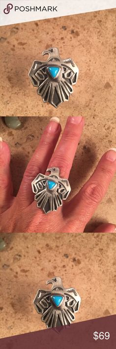 Vintage Navajo Thunderbird Turquoise & Sterling Authentic vintage Navajo Sterling silver & Turquoise Thunderbird Ring size 9. This ring is in excellent condition. The ring is 1 1/4 inches long and 1 inch wide. This piece is signed by the artist and Stamped Sterling.   Thank you for looking. Please contact me with any questions. Jewelry Rings