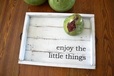This tray is perfect to sit on your coffee table, ottoman or on your vanity. It is made with reclaimed pallet boards which give it a perfect rustic look! The dimensions of the tray are: 20x14. The handles are black. Each sturdy tray is handcrafted with care. I cut, sand, assemble,