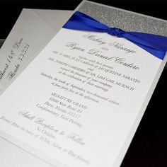 THE KNOT GLITTER  Royal Blue and Silver Wedding Invitation